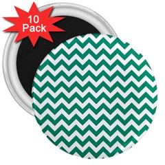Emerald Green And White Zigzag 3  Button Magnet (10 Pack) by Zandiepants
