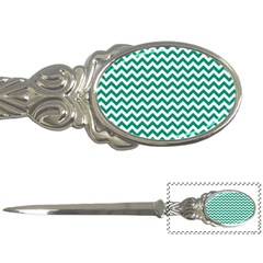 Emerald Green And White Zigzag Letter Opener by Zandiepants
