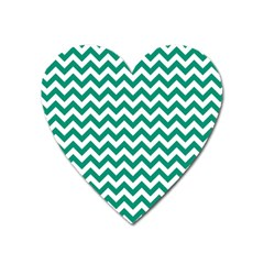 Emerald Green And White Zigzag Magnet (heart) by Zandiepants