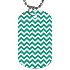 Emerald Green And White Zigzag Dog Tag (two Sided)  by Zandiepants