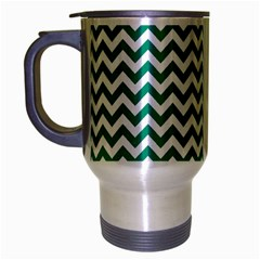 Emerald Green And White Zigzag Travel Mug (silver Gray) by Zandiepants