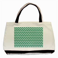 Emerald Green And White Zigzag Classic Tote Bag by Zandiepants