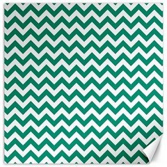 Emerald Green And White Zigzag Canvas 12  X 12  (unframed) by Zandiepants