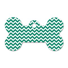 Emerald Green And White Zigzag Dog Tag Bone (two Sided) by Zandiepants