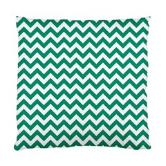 Emerald Green And White Zigzag Cushion Case (single Sided)