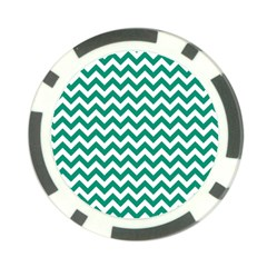Emerald Green And White Zigzag Poker Chip (10 Pack) by Zandiepants