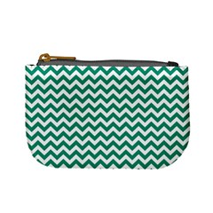 Emerald Green And White Zigzag Coin Change Purse