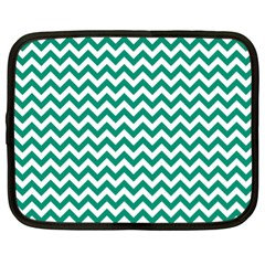 Emerald Green And White Zigzag Netbook Sleeve (xl) by Zandiepants
