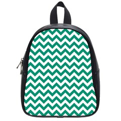 Emerald Green And White Zigzag School Bag (small) by Zandiepants