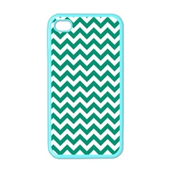 Emerald Green And White Zigzag Apple Iphone 4 Case (color) by Zandiepants