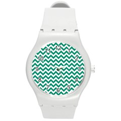 Emerald Green And White Zigzag Plastic Sport Watch (medium) by Zandiepants