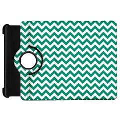 Emerald Green And White Zigzag Kindle Fire Hd 7  (1st Gen) Flip 360 Case by Zandiepants