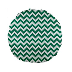 Emerald Green And White Zigzag 15  Premium Round Cushion  by Zandiepants