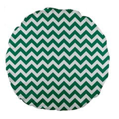Emerald Green And White Zigzag 18  Premium Round Cushion  by Zandiepants