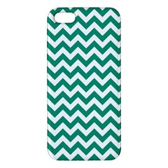 Emerald Green And White Zigzag Iphone 5s Premium Hardshell Case by Zandiepants