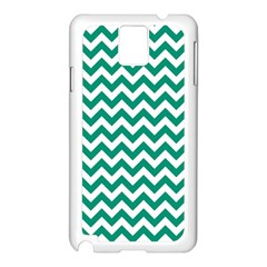Emerald Green And White Zigzag Samsung Galaxy Note 3 N9005 Case (white) by Zandiepants