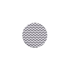 Grey And White Zigzag 1  Mini Button Magnet by Zandiepants
