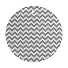 Grey And White Zigzag Round Ornament