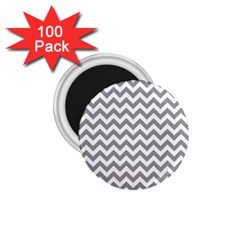 Grey And White Zigzag 1 75  Button Magnet (100 Pack) by Zandiepants