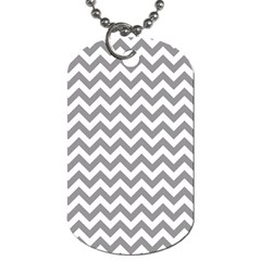 Grey And White Zigzag Dog Tag (one Sided) by Zandiepants