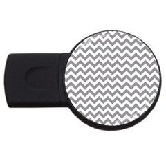 Grey And White Zigzag 2gb Usb Flash Drive (round) by Zandiepants
