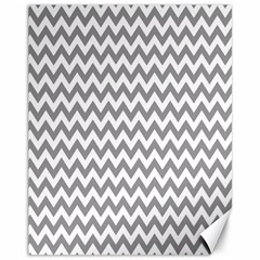 Grey And White Zigzag Canvas 11  x 14  (Unframed) by Zandiepants