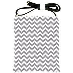 Grey And White Zigzag Shoulder Sling Bag by Zandiepants