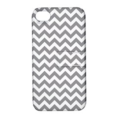 Grey And White Zigzag Apple Iphone 4/4s Hardshell Case With Stand by Zandiepants