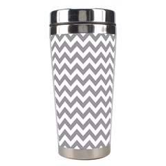 Grey And White Zigzag Stainless Steel Travel Tumbler