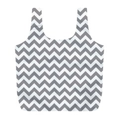 Grey And White Zigzag Reusable Bag (l) by Zandiepants