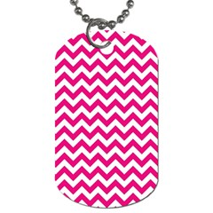 Hot Pink And White Zigzag Dog Tag (one Sided)