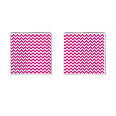 Hot Pink And White Zigzag Cufflinks (square) by Zandiepants