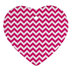 Hot Pink And White Zigzag Heart Ornament (two Sides)