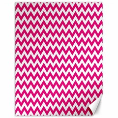 Hot Pink And White Zigzag Canvas 12  X 16  (unframed) by Zandiepants