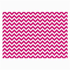 Hot Pink And White Zigzag Glasses Cloth (large, Two Sided) by Zandiepants
