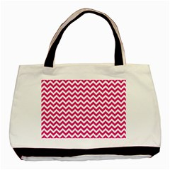 Hot Pink And White Zigzag Twin Sided Black Tote Bag by Zandiepants