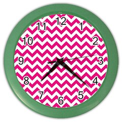 Hot Pink And White Zigzag Wall Clock (color) by Zandiepants