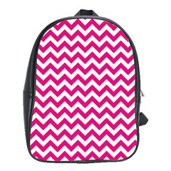 Hot Pink And White Zigzag School Bag (large) by Zandiepants