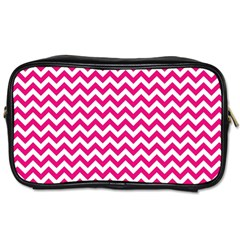 Hot Pink And White Zigzag Travel Toiletry Bag (one Side) by Zandiepants