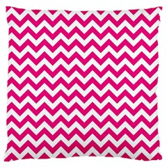 Hot Pink And White Zigzag Large Cushion Case (two Sided)  by Zandiepants