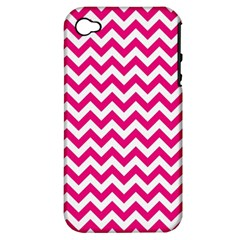 Hot Pink And White Zigzag Apple Iphone 4/4s Hardshell Case (pc+silicone) by Zandiepants