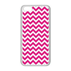 Hot Pink And White Zigzag Apple Iphone 5c Seamless Case (white) by Zandiepants