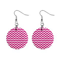 Hot Pink And White Zigzag Mini Button Earrings by Zandiepants