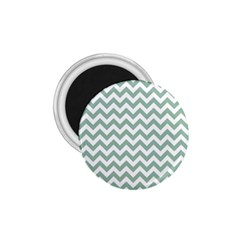 Jade Green And White Zigzag 1 75  Button Magnet by Zandiepants