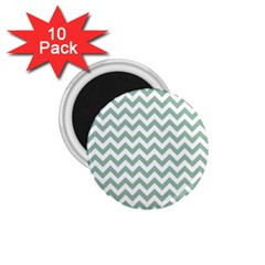 Jade Green And White Zigzag 1 75  Button Magnet (10 Pack) by Zandiepants