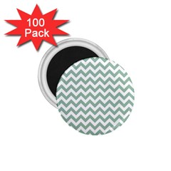 Jade Green And White Zigzag 1 75  Button Magnet (100 Pack) by Zandiepants
