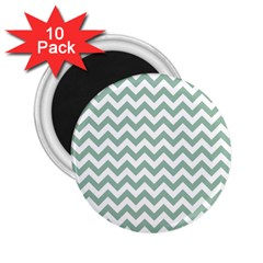 Jade Green And White Zigzag 2 25  Button Magnet (10 Pack) by Zandiepants