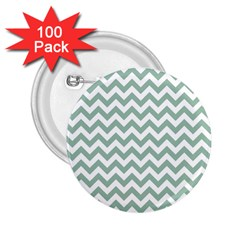 Jade Green And White Zigzag 2 25  Button (100 Pack) by Zandiepants