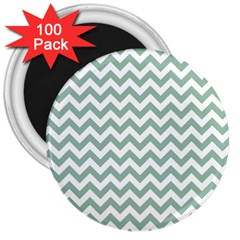 Jade Green And White Zigzag 3  Button Magnet (100 Pack) by Zandiepants