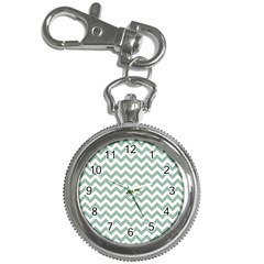 Jade Green And White Zigzag Key Chain Watch by Zandiepants